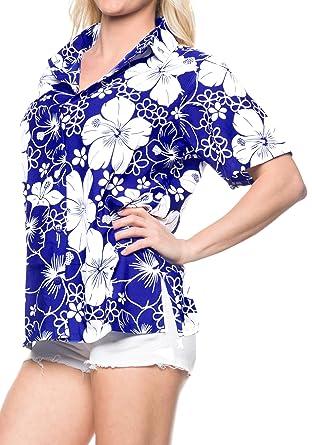 7c834b3e70c8 LA LEELA Women's Hawaiian Shirt Blouse Top Short Sleeve V Neck Button up  Work Beach Party