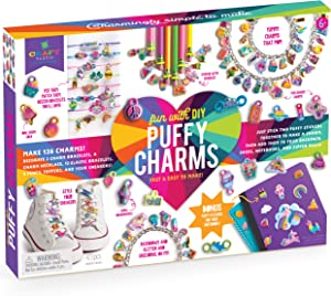 Craft-tastic – Fun with DIY Puffy Charms – Jewelry Making Kit Creates 136 Charms for Bracelets, a Necklace, Pencil Toppers, and Shoelace Charms – Fun Arts and Crafts Kit for Kids