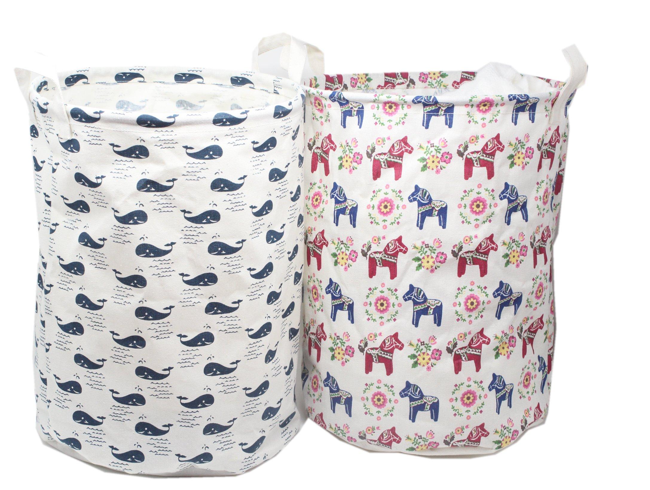 2-Pack Large Toy Storage Bins Dala Horse Fabric Cubes Kids Laundry Basket Nursery Hamper