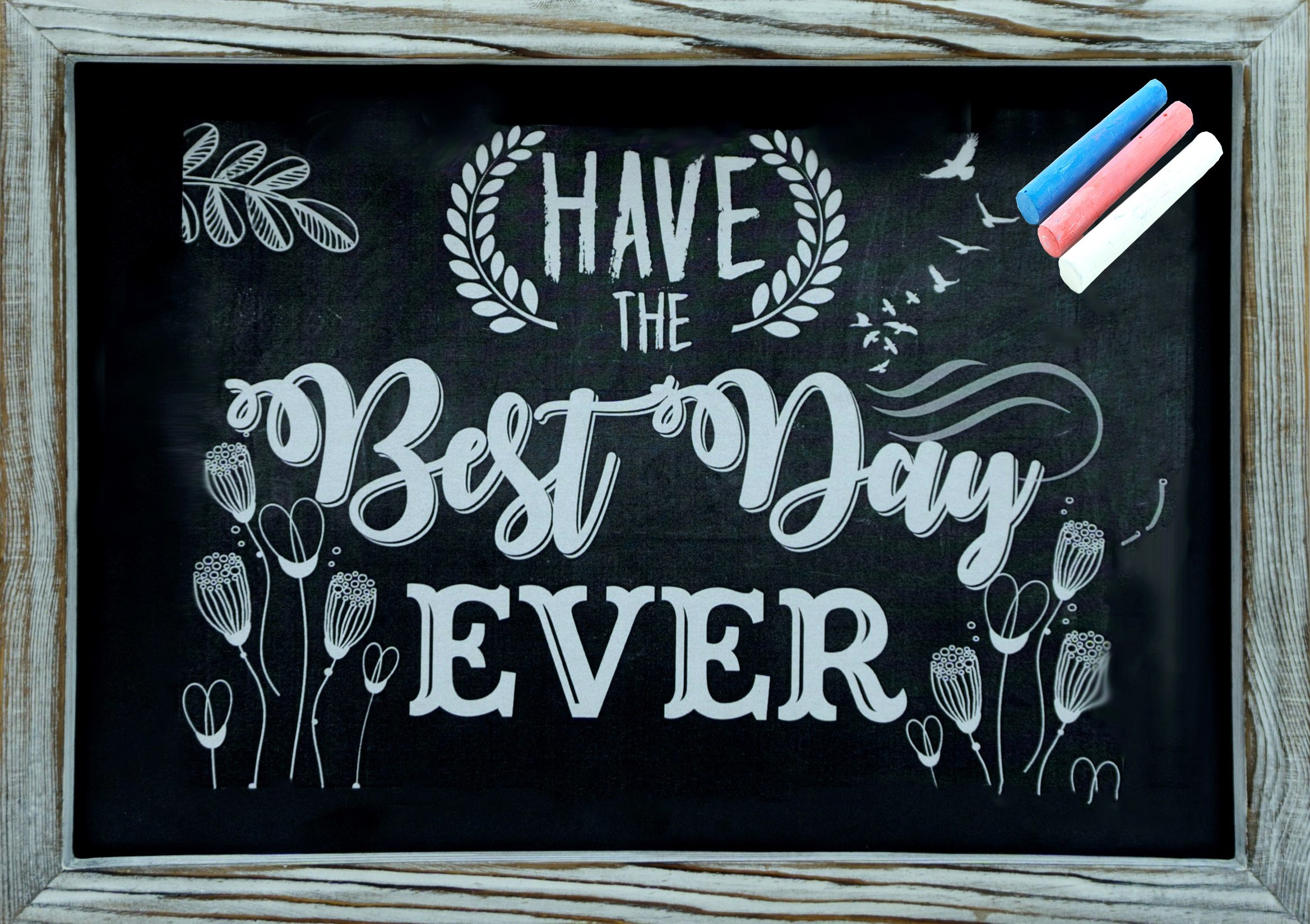 Rustic Wooden Framed Chalkboard 15'' x 11'' Easy to Clean, Non-Porous, Stand or Hanged, Comes with 3 Color Chalks - Perfect Decor for Your Home, Bedroom, Kitchen, Office, Wedding, Restaurant & Bar