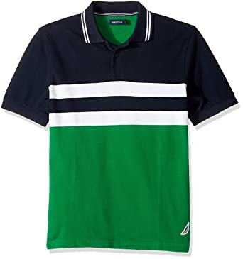 667dc092fca Nautica Men's Short Sleeve Classic Fit Color Block Polo Shirt, Rolling  Green, Small