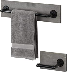 MyGift 2-Piece Gray Wood & Metal Pipe Wall Mounted Bathroom Towel Bar and Toilet Paper Holder