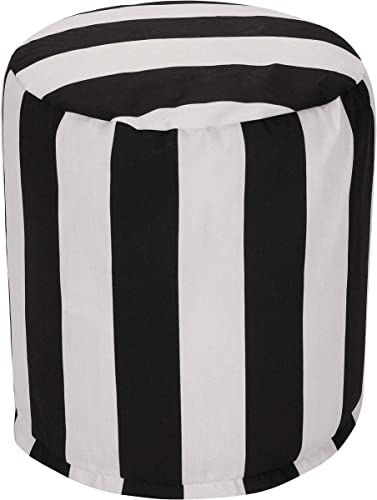 Majestic Home Goods Black Vertical Stripe Indoor Outdoor Bean Bag Ottoman Pouf 16 L x 16 W x 17 H