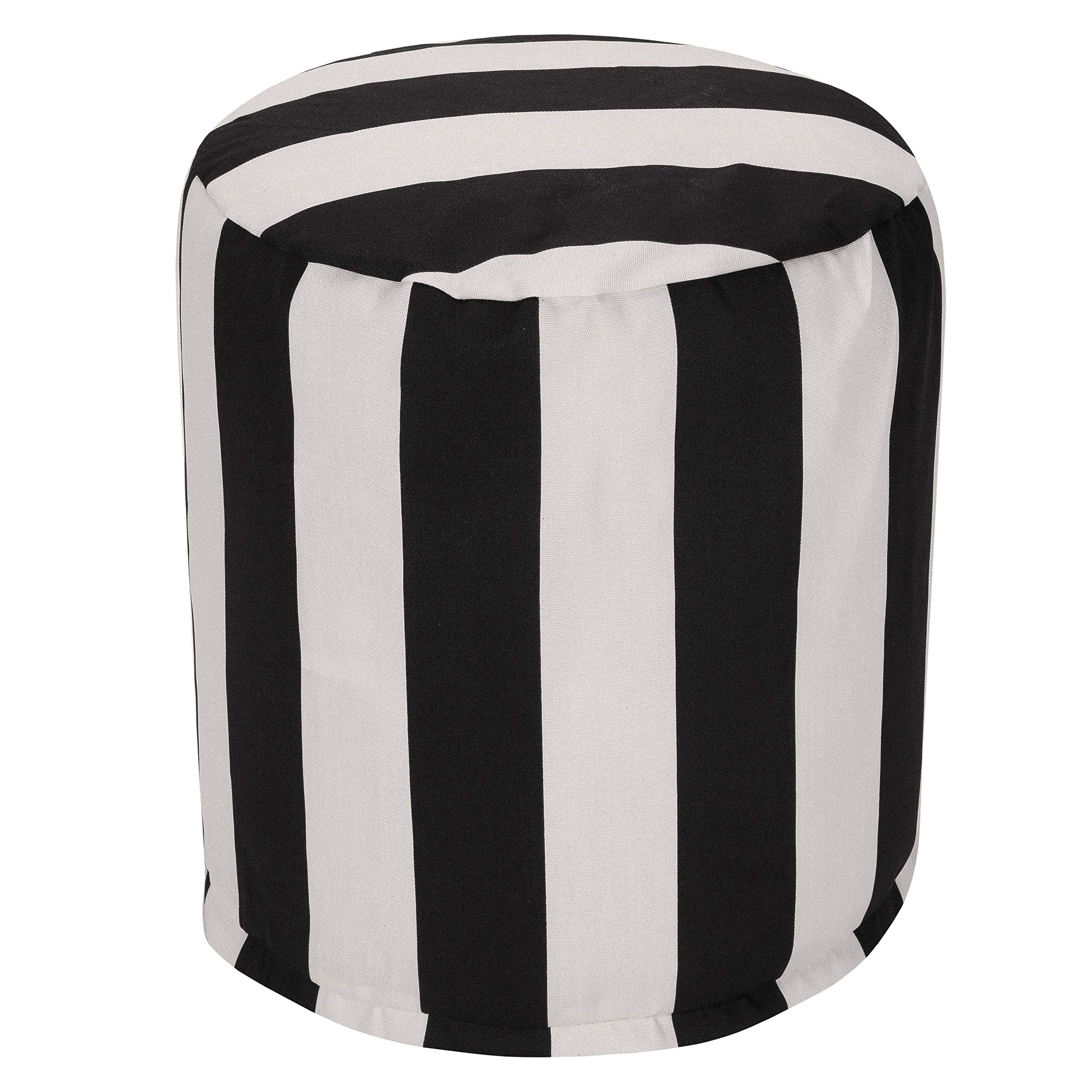 Majestic Home Goods Black Vertical Stripe Indoor/Outdoor Bean Bag Ottoman Pouf 16'' L x 16'' W x 17'' H