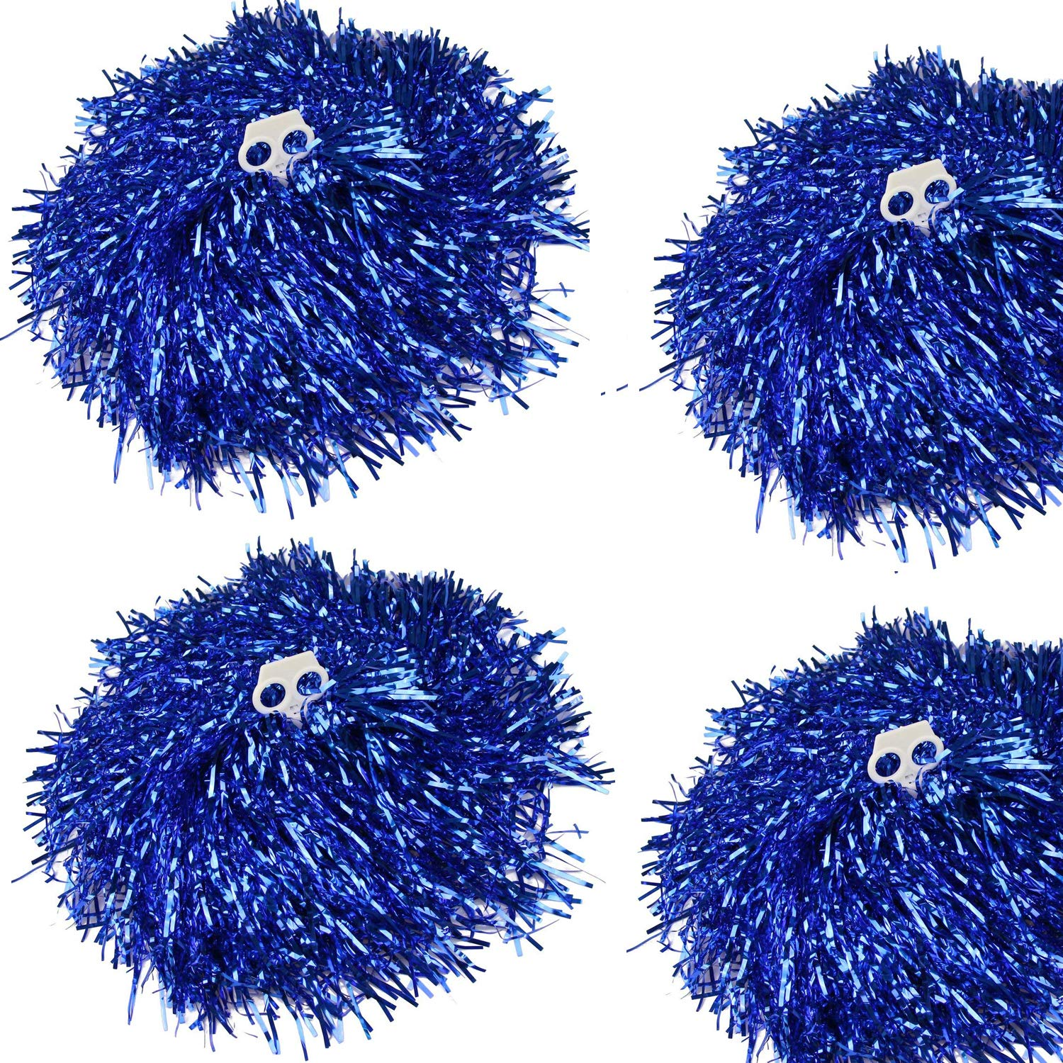 CRIVERS 4PC Cheerleading Pom Poms, Cheerleader Pompons für Ball Dance Kostüm Night Party Sports (blau, 100g)