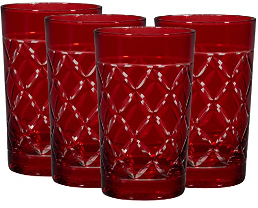 Christmas Tablescape Decor - A fabulous set of ruby red highball glasses