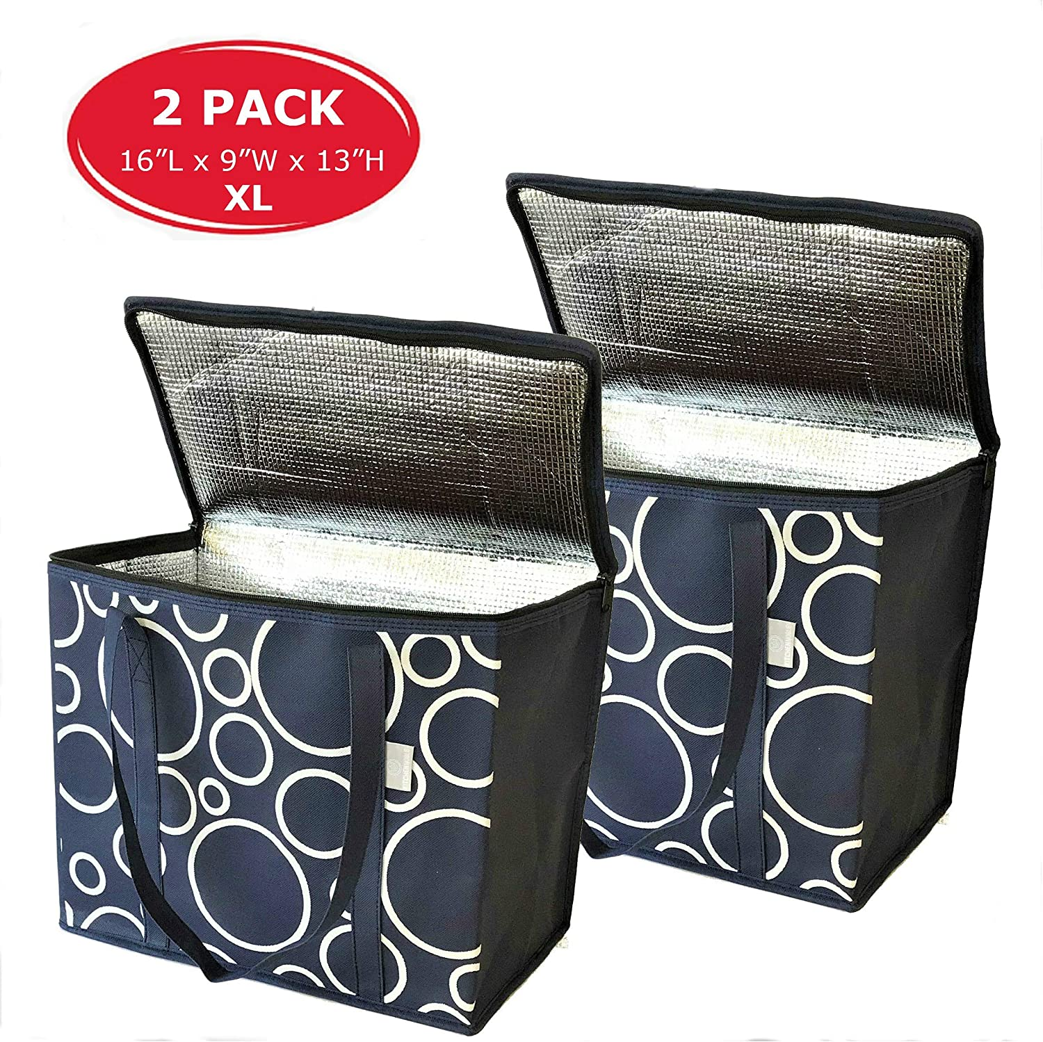 XL Insulated Shopping Bags For Groceries - Insulated Bags For Food Transport - Heavy Duty, Zippered Top, Reinforced Bottom & Handles - Reusable, Foldable For Cold & Hot Food Shopping & Transport- 2 Pk