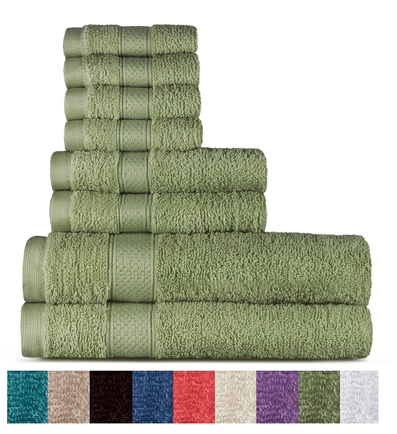 100% Cotton 8 Piece Towel Set (Sage); 2 Bath Towels, 2 Hand Towels and 4 Washcloths, Machine Washable, Super Soft by WELHOME