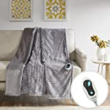 """Beautyrest - Heated Brushed Long Fur Throw - Ogee Pattern - 50"""" x 60"""" - Grey - With 3-Setting Heat Controller"""