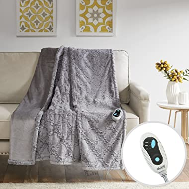 Beautyrest - Heated Brushed Long Fur Throw - Ogee Pattern - 50  x 60  - Grey - With 3-Setting Heat Controller