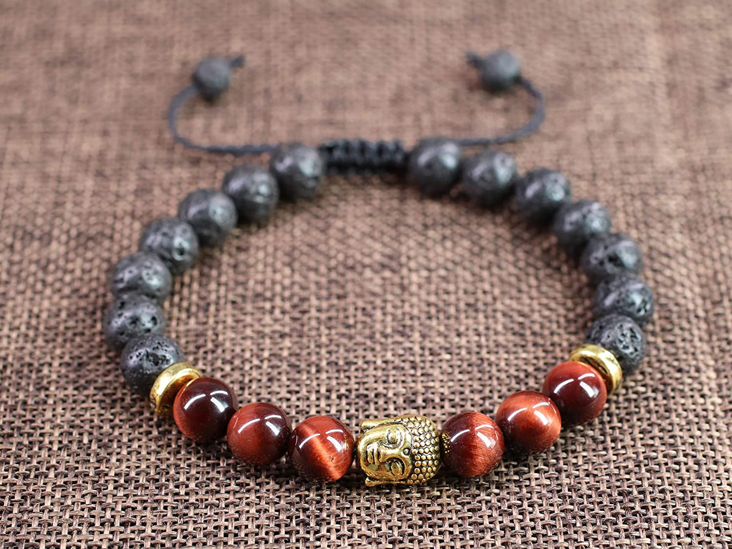 Berry Aroma Lava Bracelet with Red Tiger Eye
