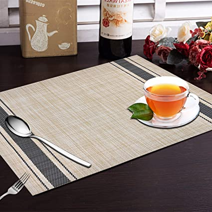 Yellow Weaves 6 Piece Dining Table Placemats - Multi