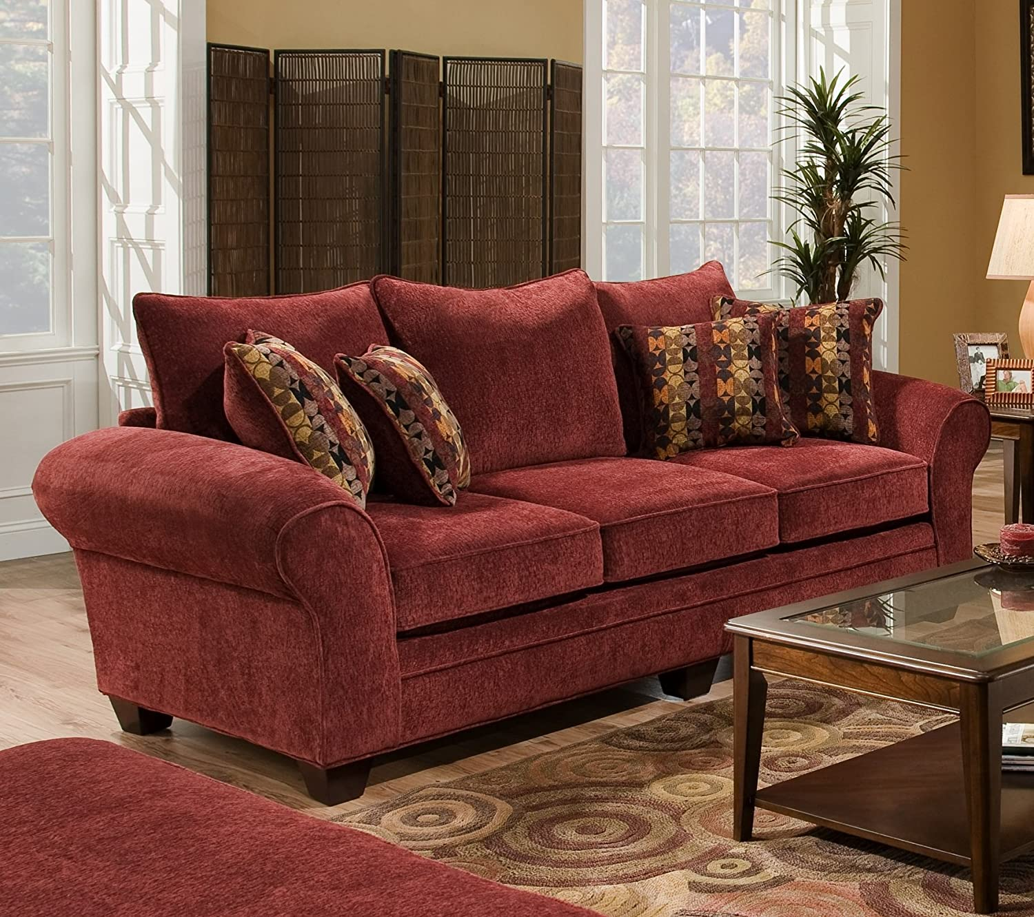 Charming Amazon.com: Chelsea Home Furniture Clearlake Sofa, Masterpiece Burgundy/Palmero  Mosaic Pillows(2): Kitchen U0026 Dining