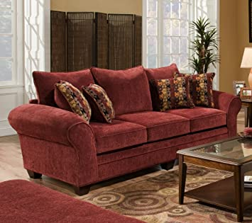 Chelsea Home Furniture Clearlake Sofa, Masterpiece Burgundy/Palmero Mosaic  Pillows(2)