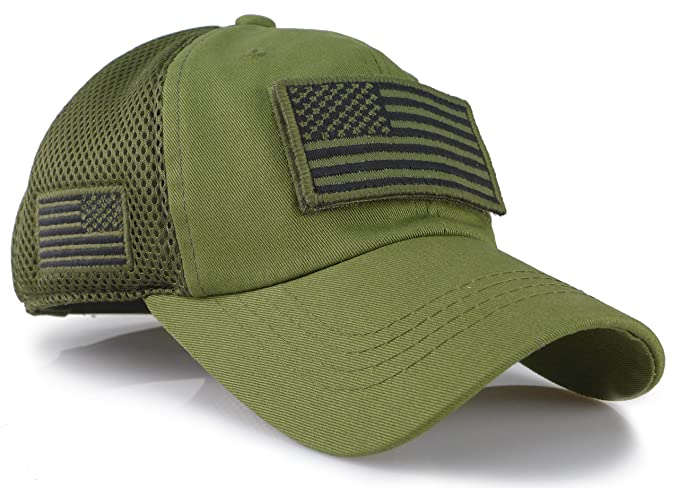 fcaeeb9e674 Camouflage Constructed Trucker Special Tactical Operator Forces USA Flag  Patch Baseball Cap (Army Green)