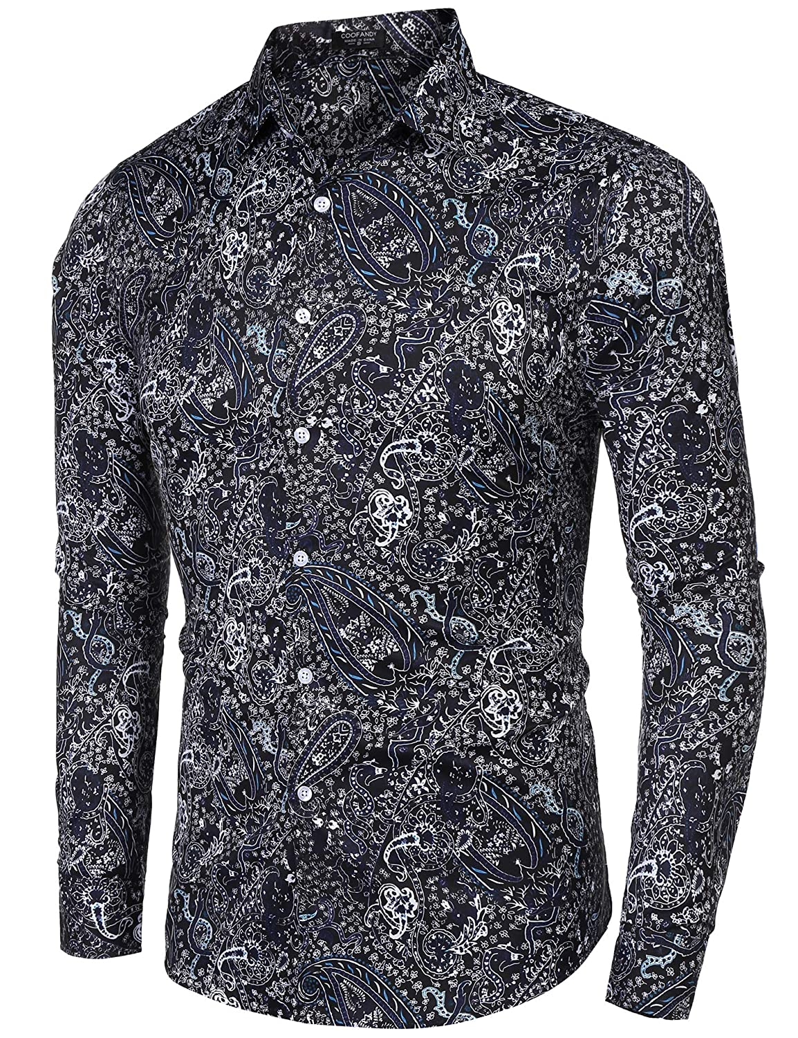 d24aa326 JINIDU Men's Floral Dress Shirt Slim Fit Casual Paisley Printed Button Down  Shirts: Amazon.co.uk: Clothing