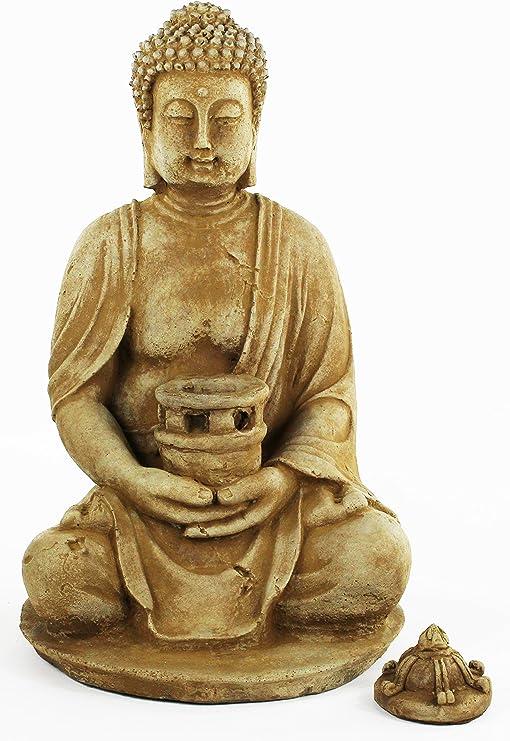 Buda chino farol de hormigón Estatua Jardín Decoración de cemento: Amazon.es: Jardín