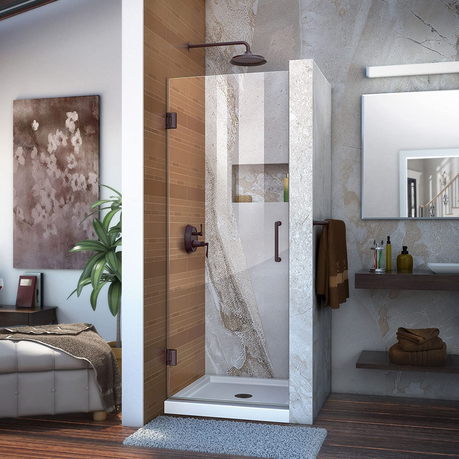 DreamLine Unidoor 25 in. W x 72 in. H Frameless Hinged Shower Door, Clear Glass, in Oil Rubbed Bronze, SHDR-20257210F-06