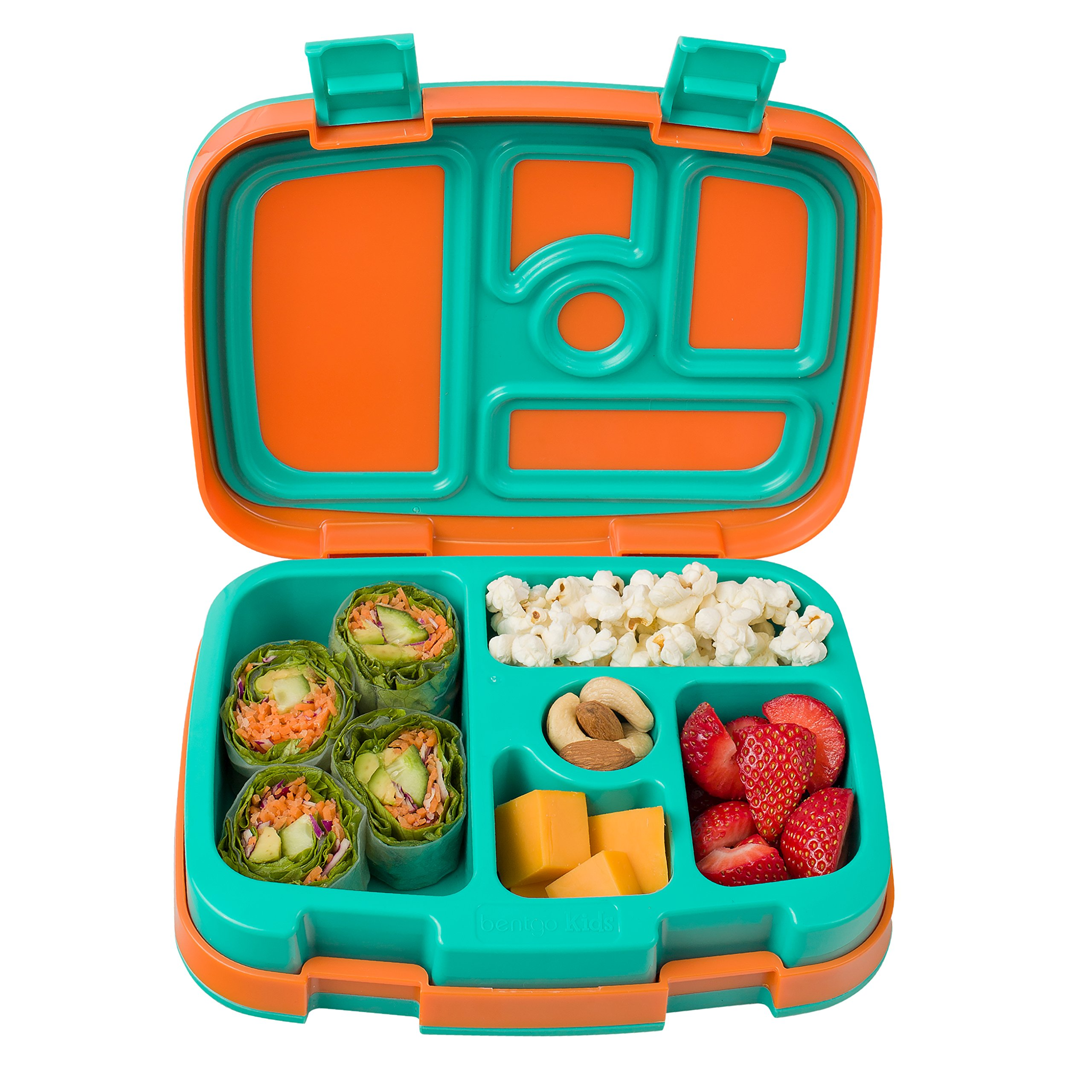 Bentgo Kids Brights – Leak-Proof, 5-Compartment Bento-Style Kids Lunch Box – Ideal Portion Sizes for Ages 3 to 7 – BPA-Free and Food-Safe Materials (Orange)