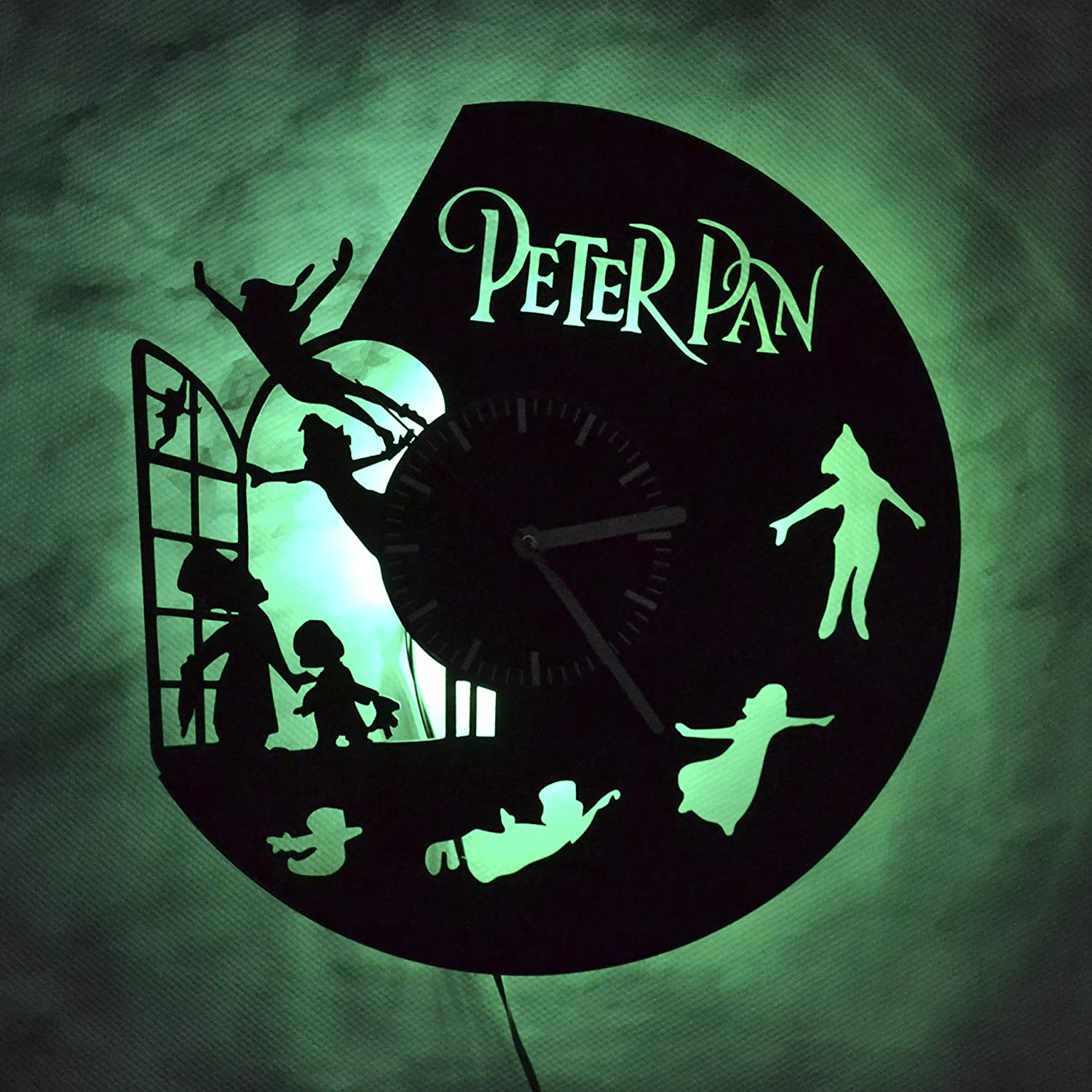 Peter Pan Fictional Character Night Light Wall Lights Vinyl Record Wall Clock The Best Home Design Idea House Decoration Vinyl Wall Light Clock Interior Lights for Home Nursery Perfect Gift
