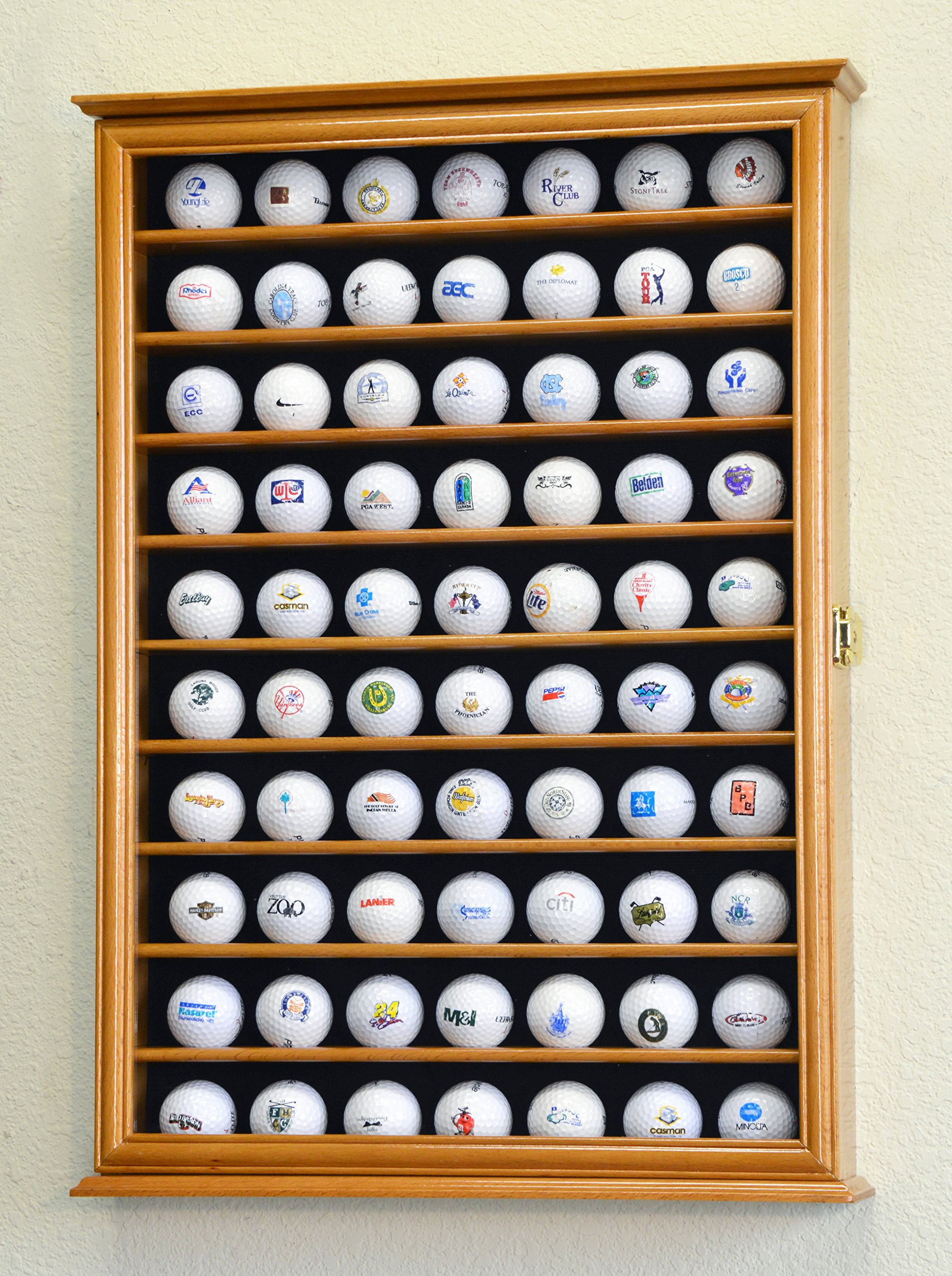 70 Golf Ball Display Case Cabinet Holder Wall Rack w/ UV Protection -Oak by sfDisplay (Image #2)
