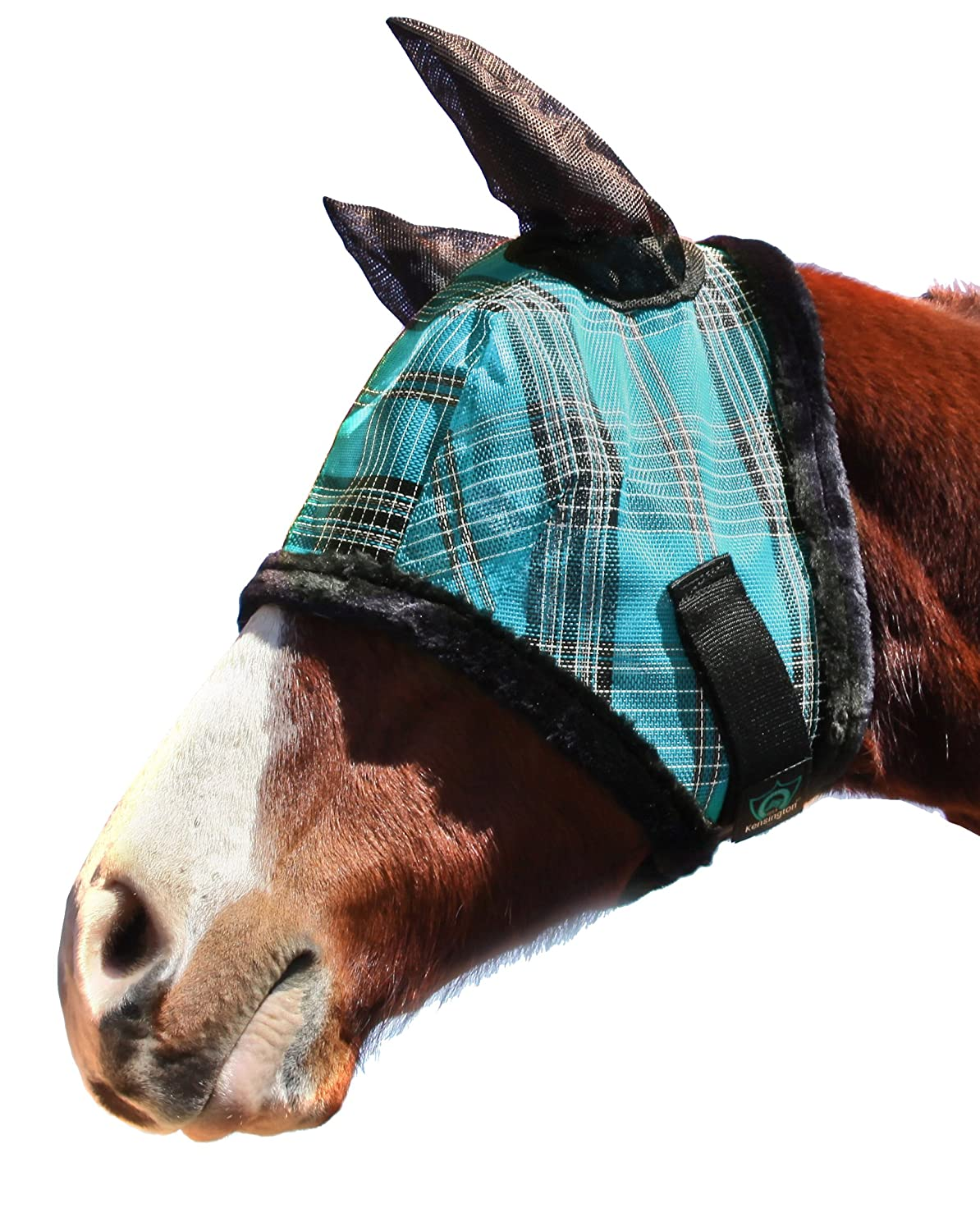 Black Ice Plaid Large Black Ice Plaid Large Kensington Fly Mask with Fleece Trim and Soft Ears