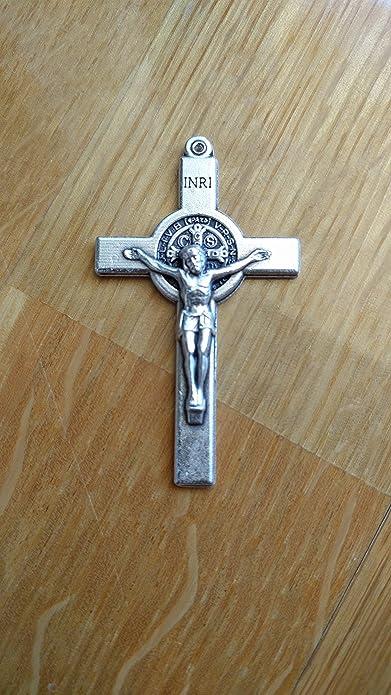 25//50 MedjugorjeOnlineShop LOT Set Bulk of 5//15 100 Silver St Saint Benedict Crucifix Cross 1.5 inc Rosary Pendant Necklace