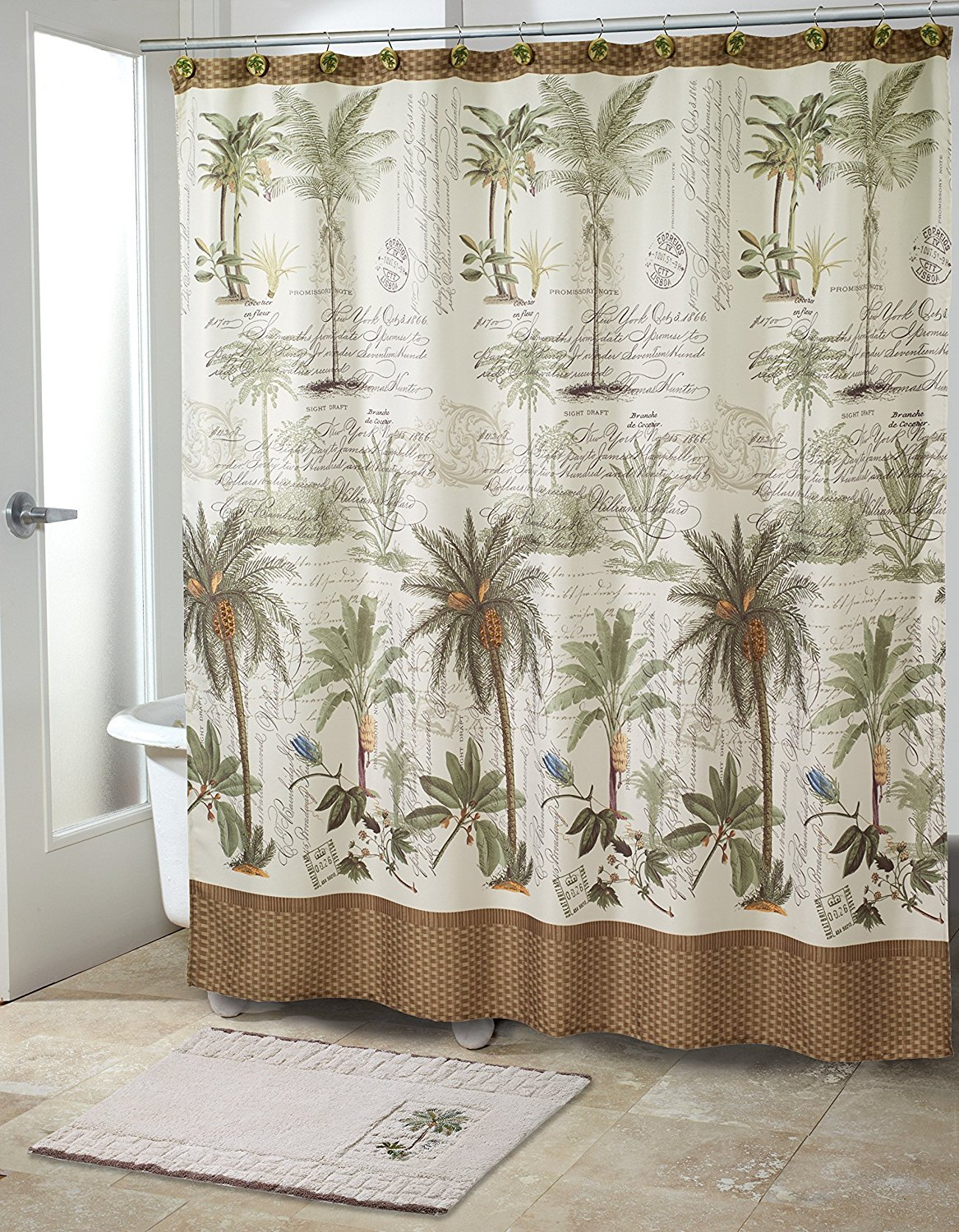 "Avanti Linens Colony Palm72"" x 72"" Shower CurtainIvory, Green and Brown"