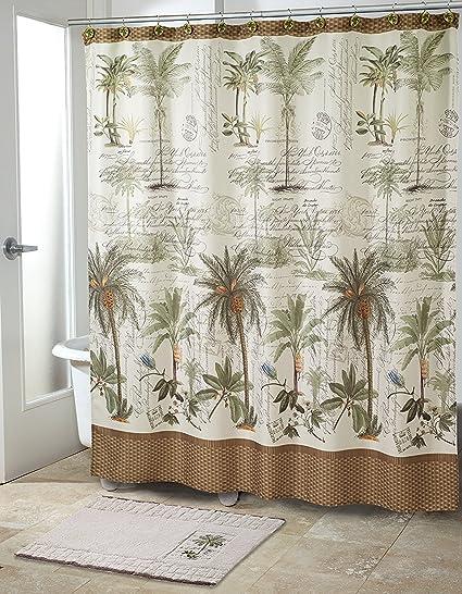 Avanti Linens 13668hivr Colonia Palm cortina de ducha, tamaño mediano, color marfil
