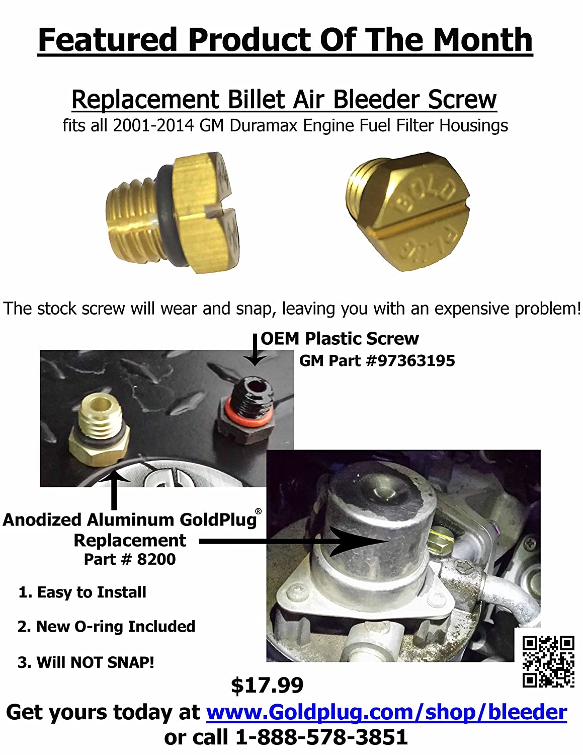 Amazon.com: Gold Plug 8200 Billet Air Bleeder Screw for 2001-2016 GM Duramax  Fuel Filter Housing: Automotive