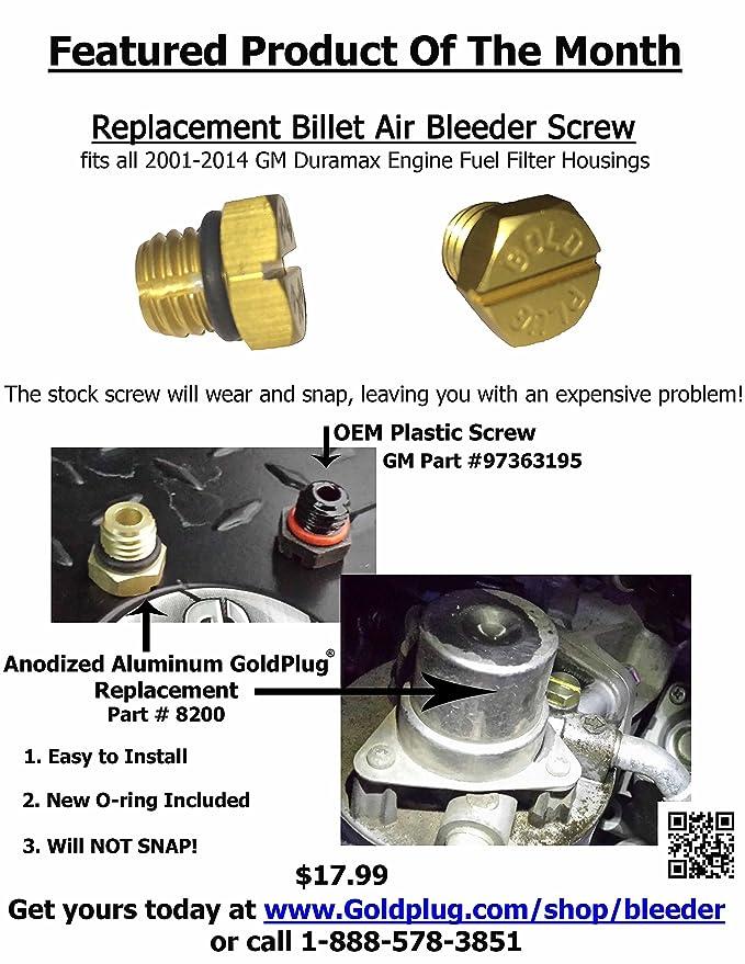 amazon com: gold plug 8200 billet air bleeder screw for 2001-2016 gm duramax  fuel filter housing: automotive