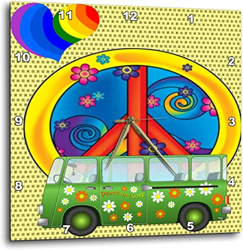 3dRose 3D Rose The 60s, Love,Flower Power Van and Peace Sign Art-Wall Clock, 15-inch DPP_52231_3