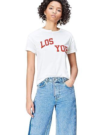 f11807d6704551 FIND Damen Slogan-T-Shirt mit rundem Ausschnitt  Amazon.de  Bekleidung
