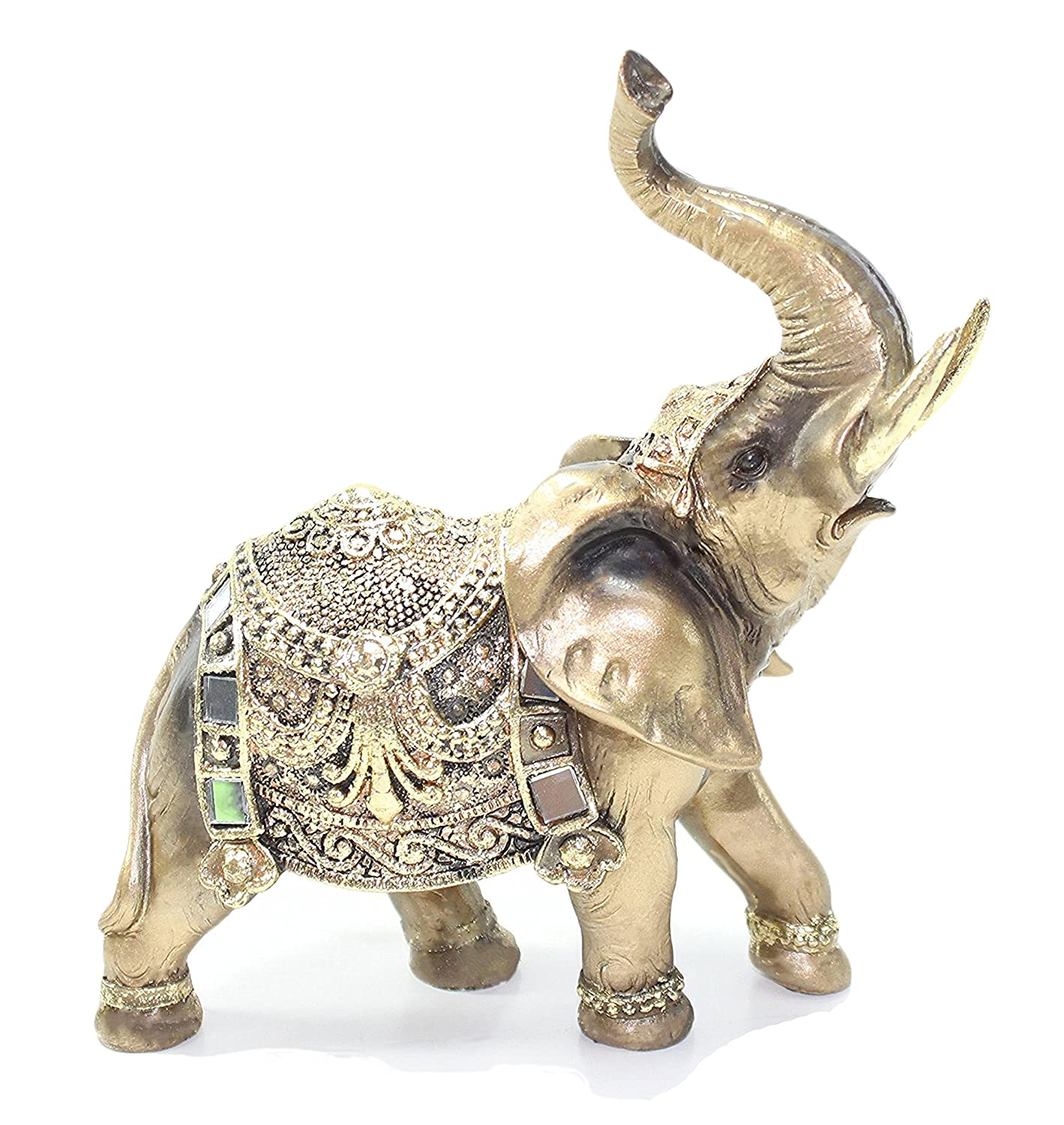 "Feng Shui 7""(H) Brass Color Elegant Elephant Trunk Statue Wealth Lucky Figurine Home Decor Gift US Seller"