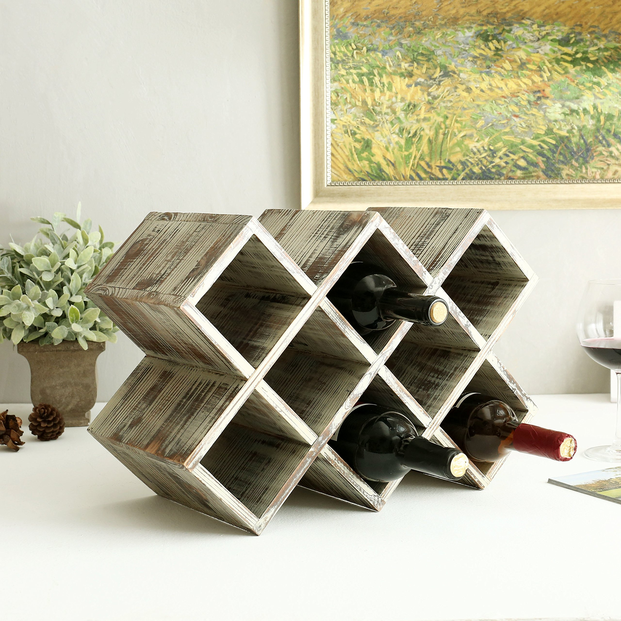 Countertop Rustic Torched Wood Wine Rack, Geometric Design 8-Bottle Storage Organizer by MyGift (Image #2)