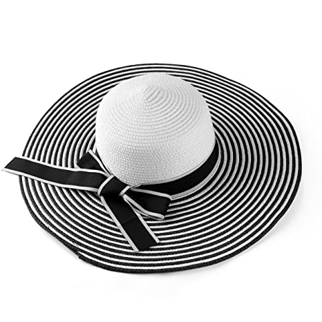 43901150417b2 Aerusi Women s Medium Size Black and White Striped Floppy Sun Hat with Ribbon  Bow at Amazon Women s Clothing store