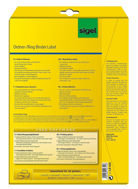 Sigel LA420 Etiquetas para archivadores (Ink/Laser/Copy), 192x59 mm (A4), 100 Et.=25 hojas: Amazon.es: Oficina y papelería