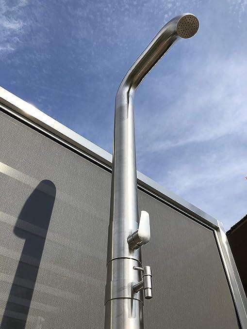 Model Pipe - Ducha solar, acero inoxidable cepillado, 20 litros, ducha de jardín: Amazon.es: Jardín