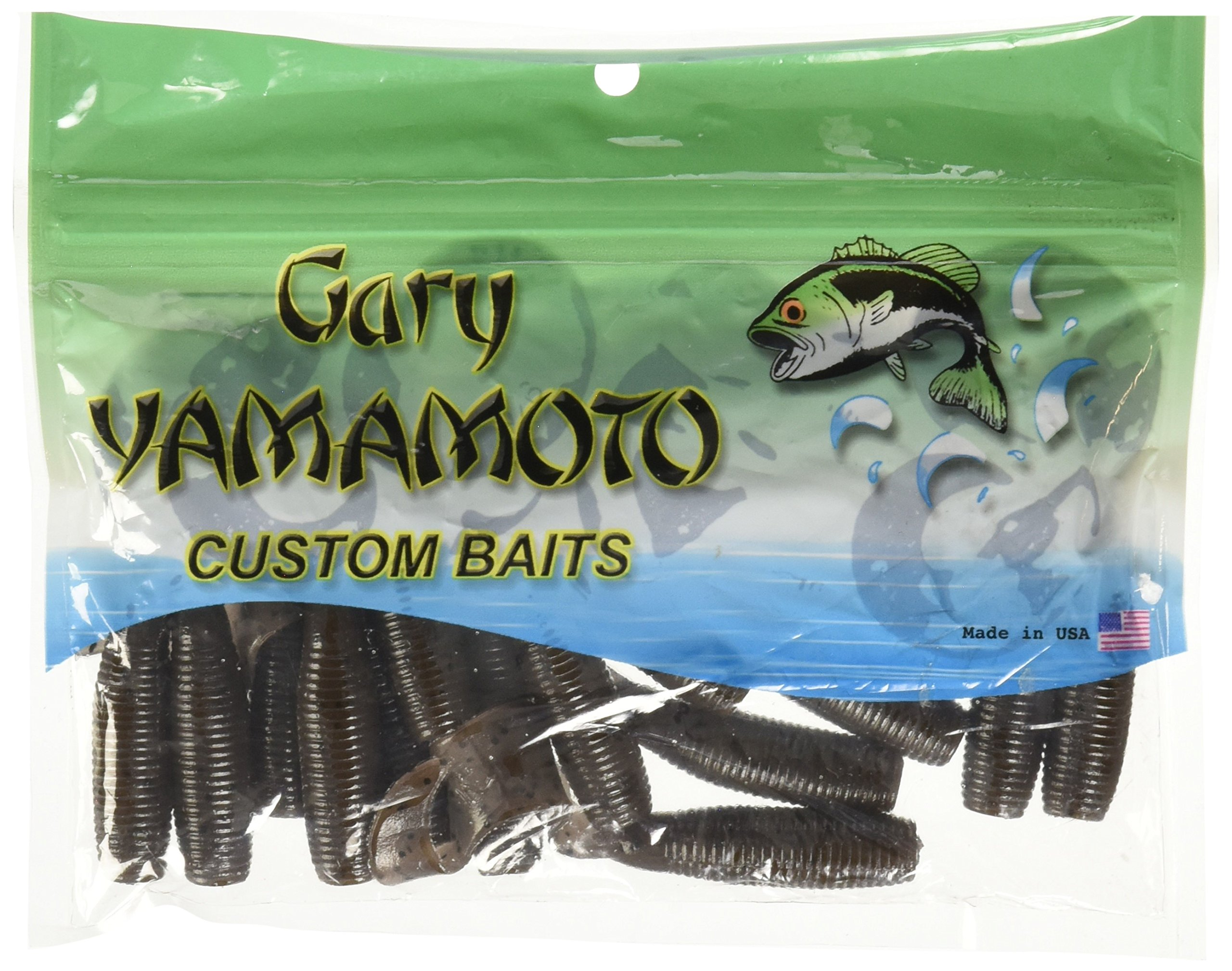 Yamamoto Single Tail Grub 4'', Cinnamon w/Large Black
