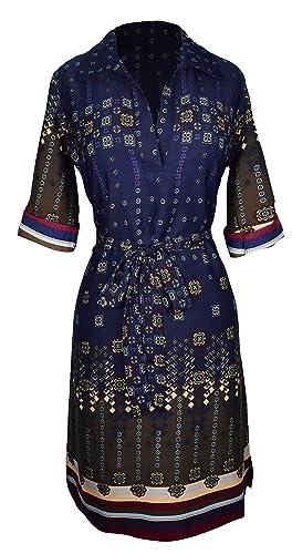 Peach Couture Womens Summer Causal V Neck Shift ¾ Sleeve Waist Tie Shift Dress
