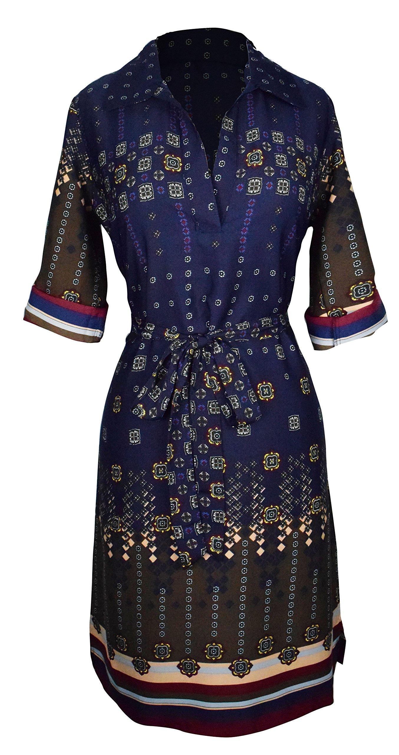 Peach Couture Womens Multi Pattern V Neck Shift ¾ Sleeve Waist Tie Shift Dress Medium Navy Maroon