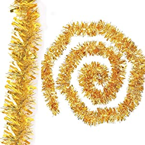 Gold Christmas Tinsel Garland Metallic Streamers Birthday Celebrate a Holiday New Years Eve Party Indoor and Outdoor Tinsel Decorations,19 Foot