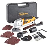 VonHaus 2.3 Amp Multi Purpose Oscillating Tool / Half Moon Saw / Sander Pads / Scraper Blade - 15 pc Accessory kit including Dust Extraction Port & Carry/Storage Case