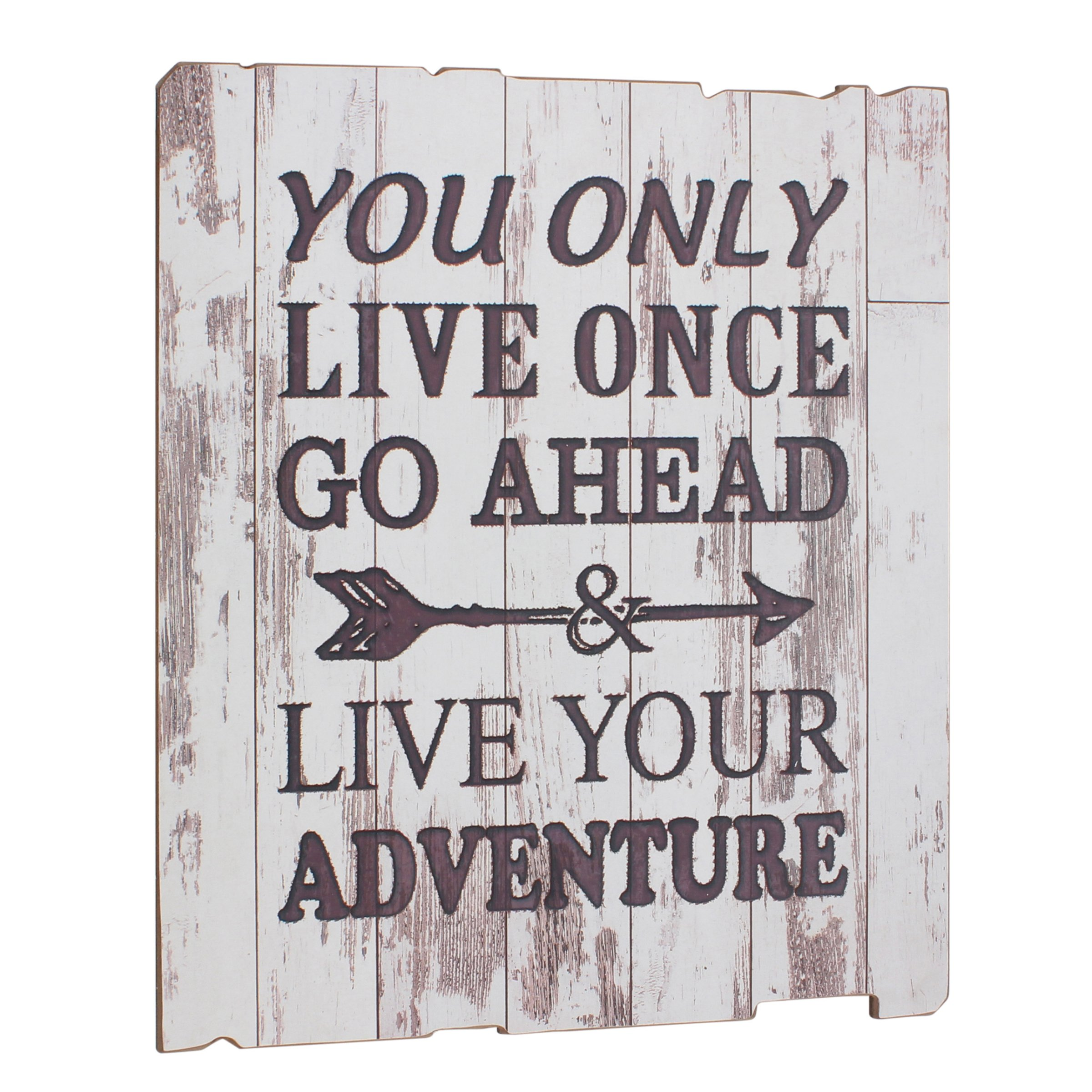 Stonebriar Rustic Wooden Worn White Painted ''Live Your Adventure'' Wall Art with Attached Hanger, Inspirational Wall Decor, Artwork for Entryway, Office, Bedroom, and Living Room