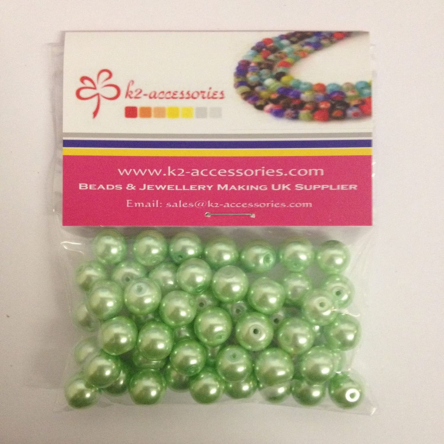 50 pieces 10mm Glass Pearl Beads - Pale Green - A1213 k2-accessories