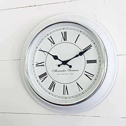 Amazon.com: The Classic Analog White Wall Clock, Italian Style, Sant ...