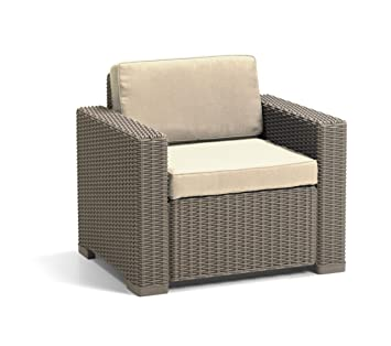 allibert by keter california armchair duo rattan outdoor garden furniture set cappuccino with sand cushions
