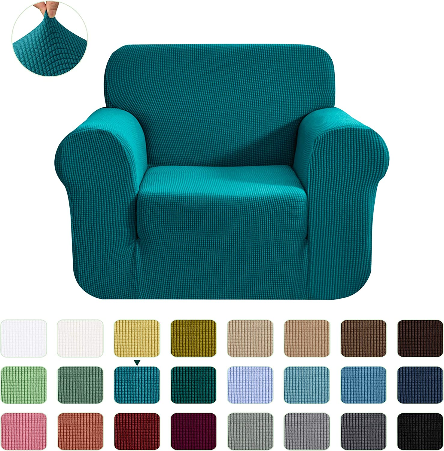 CHUN YI Stretch Chair Sofa Slipcover 1-Piece Couch Cover Furniture Protector,1 Seater Settee Coat Soft with Elastic Bottom,Checks Spandex Jacquard Fabric, Small, Teal
