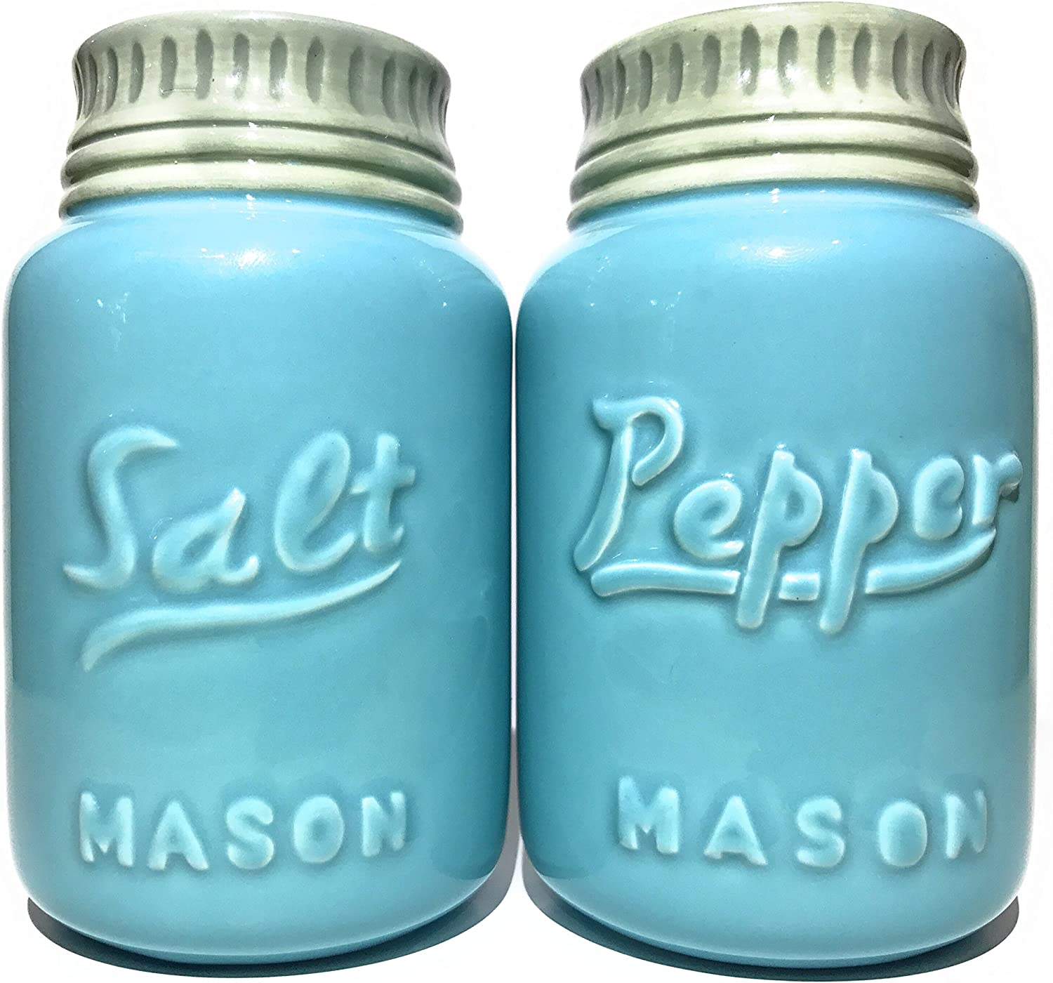 Rustic Ceramic Mason Jar Salt and Pepper Shaker Set - Vintage Style Blue - Retro Antique Farmhouse Decor - Nostalgic Country Ranch Home Kitchen Decoration Cabin Coffee Shop Cafe or Diner Shabby Chic