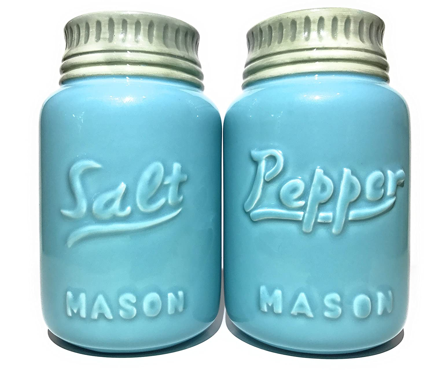 Rustic Ceramic Mason Jar Salt and Pepper Shaker Set - Vintage Style Green - Retro Antique Farmhouse Decor - Nostalgic Country Ranch Home Kitchen Decoration for Coffee Shop Cafe Cabin Diner Shabby Chic